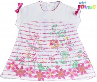 9e4e85763c Rózsaszín mintás, hátulján végig patentos fehér pamut ruha 62-68' 6-Új empty