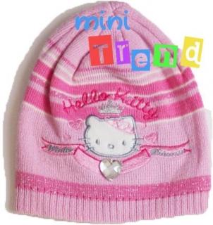 Hello Kitty rózsaszín csíkos kétrétegű kötött sapka 3-5év  54cm  5- empty 4fb6bd7569