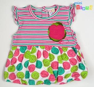 50d9e650f4 Pink zöld mintás fehér hagyma aljú ruha 68' 4-Hibátlan empty
